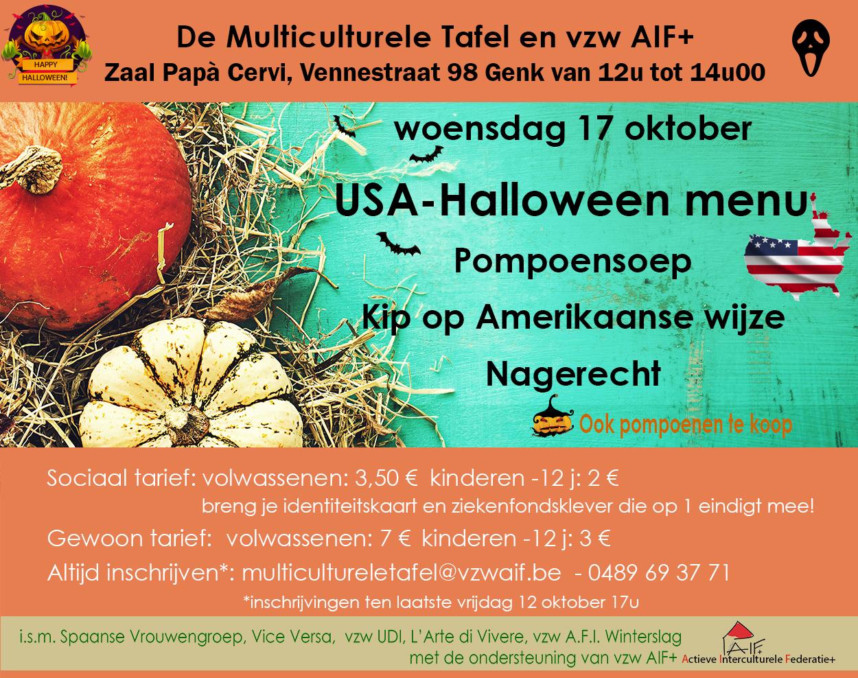 17 oktober Multiculturele Tafel USA-Halloween menu