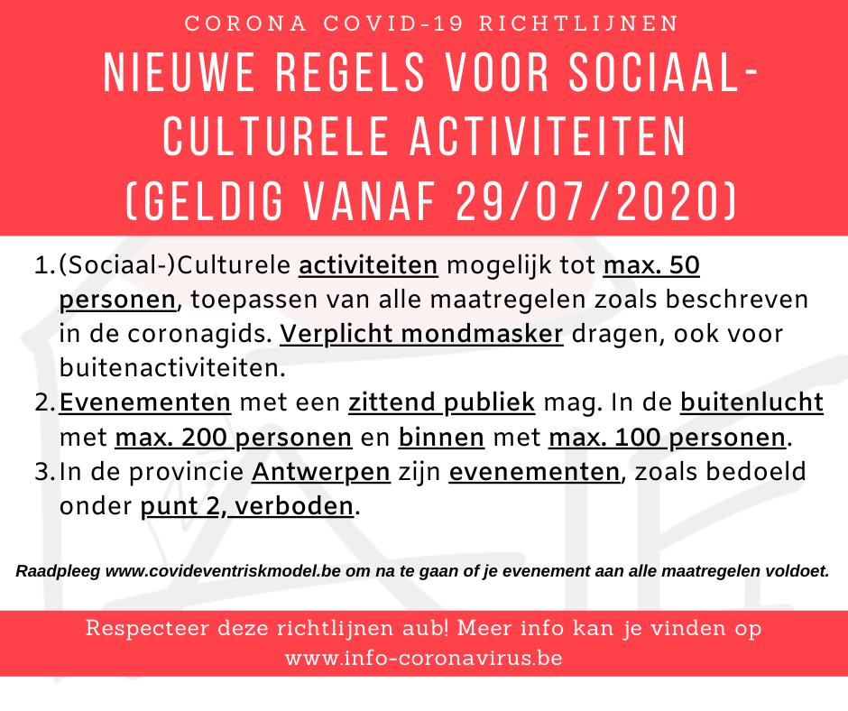 nieuwe maatregelen voor sociaal-culturele activiteiten